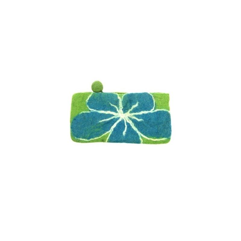 Pochette en laine fleur bleue