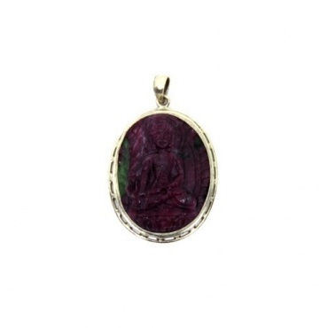 Pendentif Bouddha Médecine Zoïsite rubis
