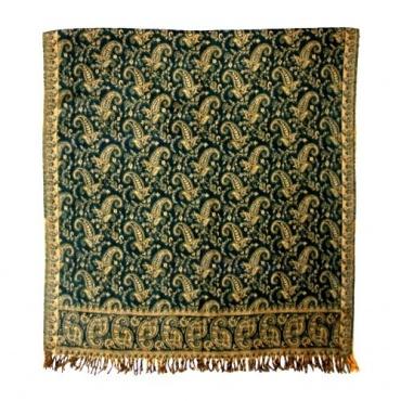 Châle couverture vert et beige