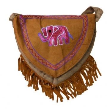Sac à franges original brodé Eléphant rose