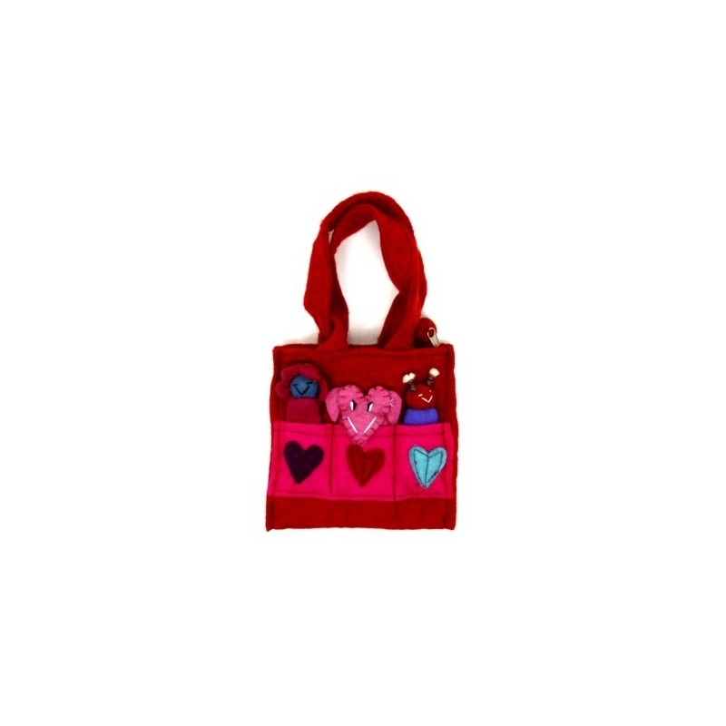 Sac rouge animaux marionnettes