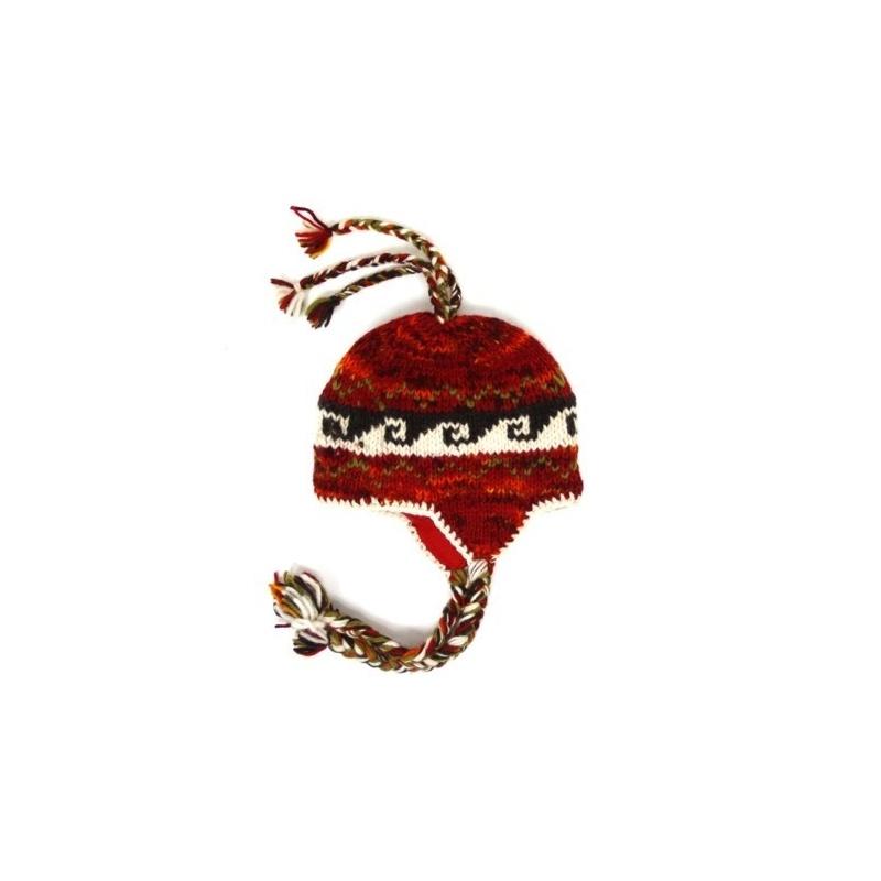 Bonnet cache-oreilles enfants rouge chiné