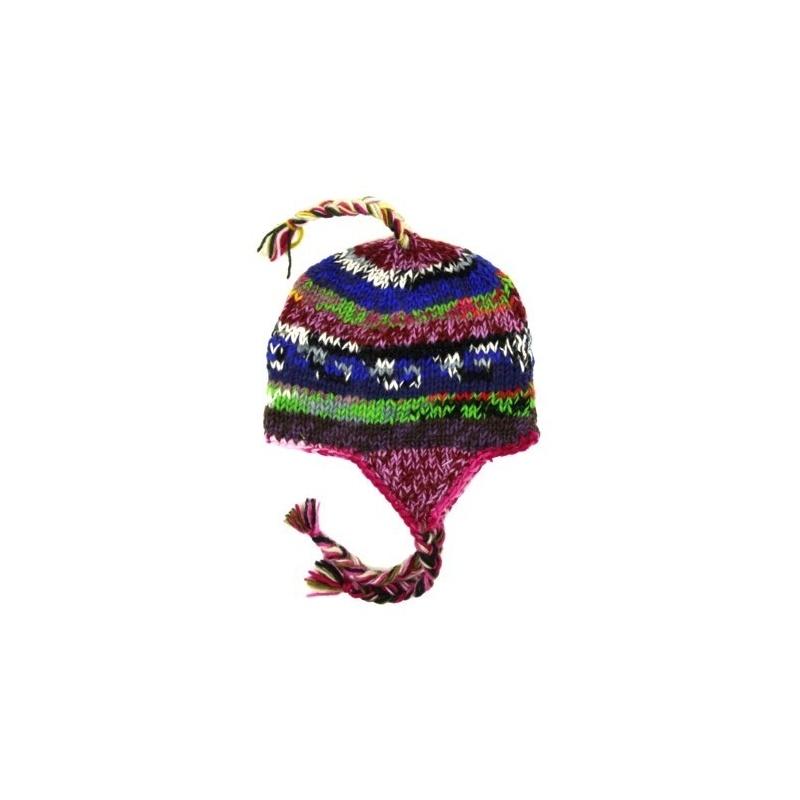 choisir le dernier pas de taxe de vente choisir véritable Bonnet cache oreilles pas cher pour les enfants, multicolore, tricoté à la  main avec de la laine naturelle