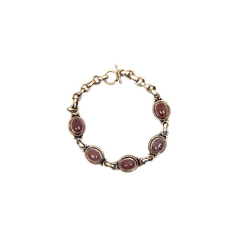 Bracelet en argent et pierres Quartz rose