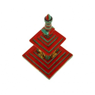 Stupa tibétain Chörten en bois et mosaïque