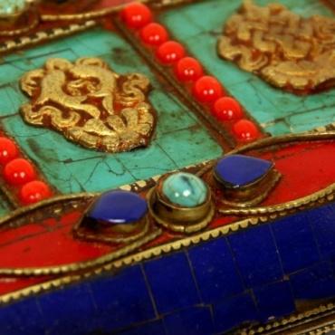 Livre bouddhiste Tibétain en bois