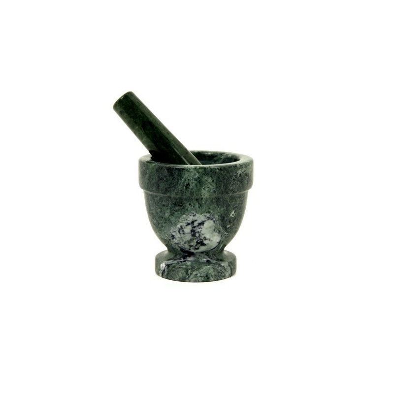 mortier et pilon en marbre vert pour broyer lse herbes. Black Bedroom Furniture Sets. Home Design Ideas