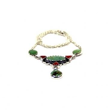 Collier de turquoise tibétaine et corail