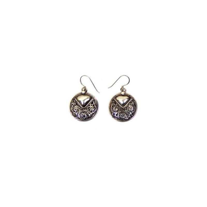 Boucles d'oreilles ronde originales en argent