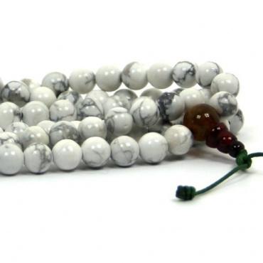 Mala collier pierre Howlite blanche marbrée