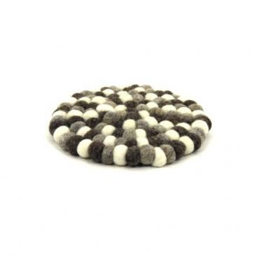 Petit tapis rond en laine naturelle