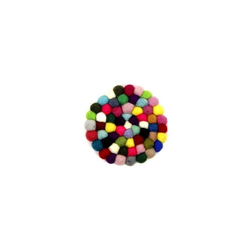 petit tapis rond pour bol chantant petit coussin rond en laine multicolore toit du monde. Black Bedroom Furniture Sets. Home Design Ideas