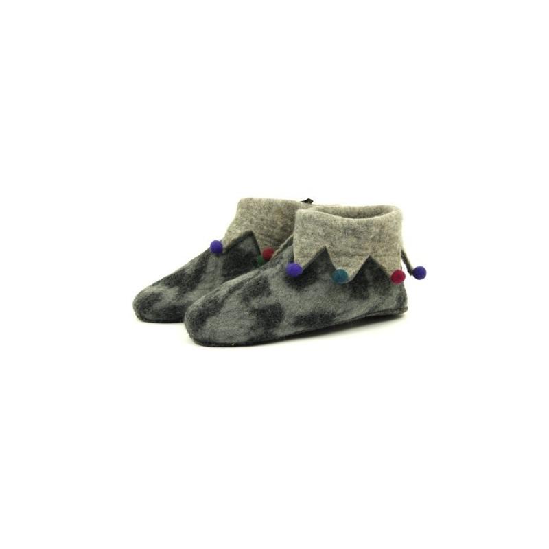 fa3419bc7eda5 Pantoufles - Chaussons en laine feutrée gris marbré pour adulte ...