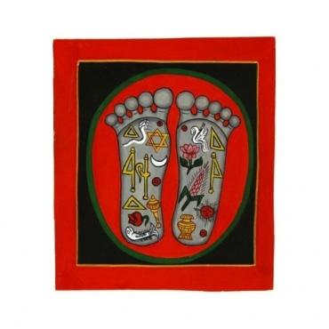 Petite Peinture Pieds de Bouddha et symboles