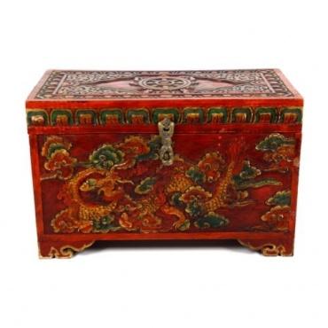 Malle Tibétaine sculptée Dragon et Dharma