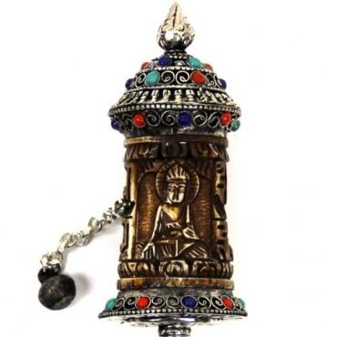 Moulin à prière Tibétain - Bouddha en os
