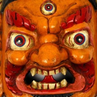 Mahakala masque jaune orangé