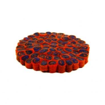 Tapis rond en laine orange et bleu