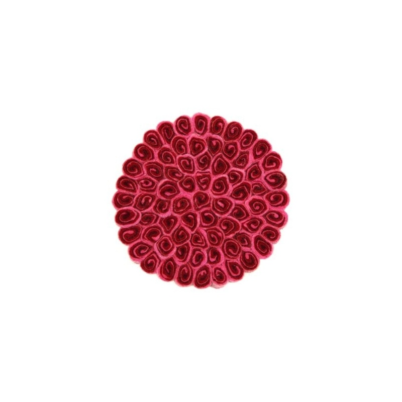 Tapis rond en laine rouge et rose