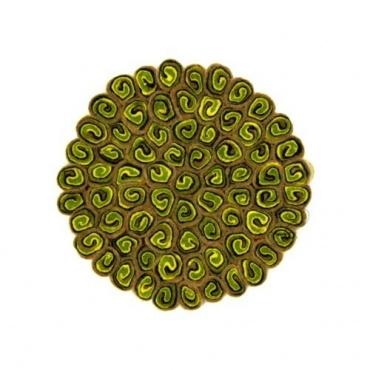Tapis rond en laine beige et vert acidulé