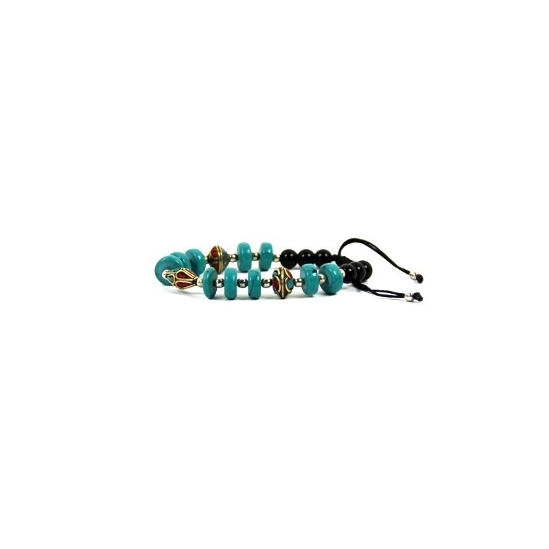 Bracelet original bleu turquoise et noir