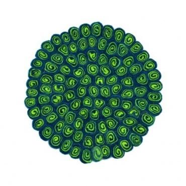 Tapis rond en laine vert acidulé et bleu paon