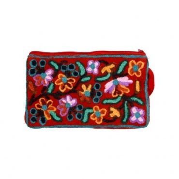 Pochette coton rouge brodée et fleurie