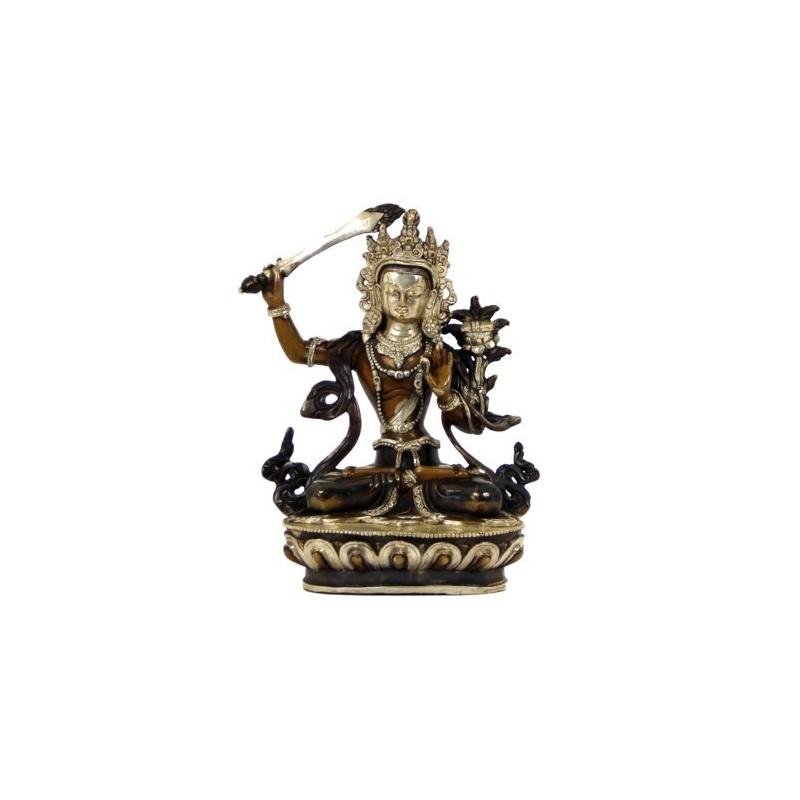 Statue de Manjushree cuivre et argent