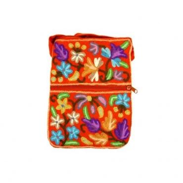 Petit sac multipoche en coton orange fleuri