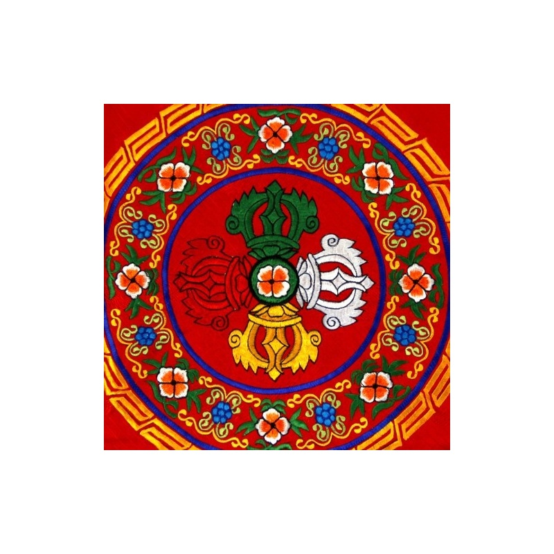 Nappe vajra croisé rouge Autel bouddhiste