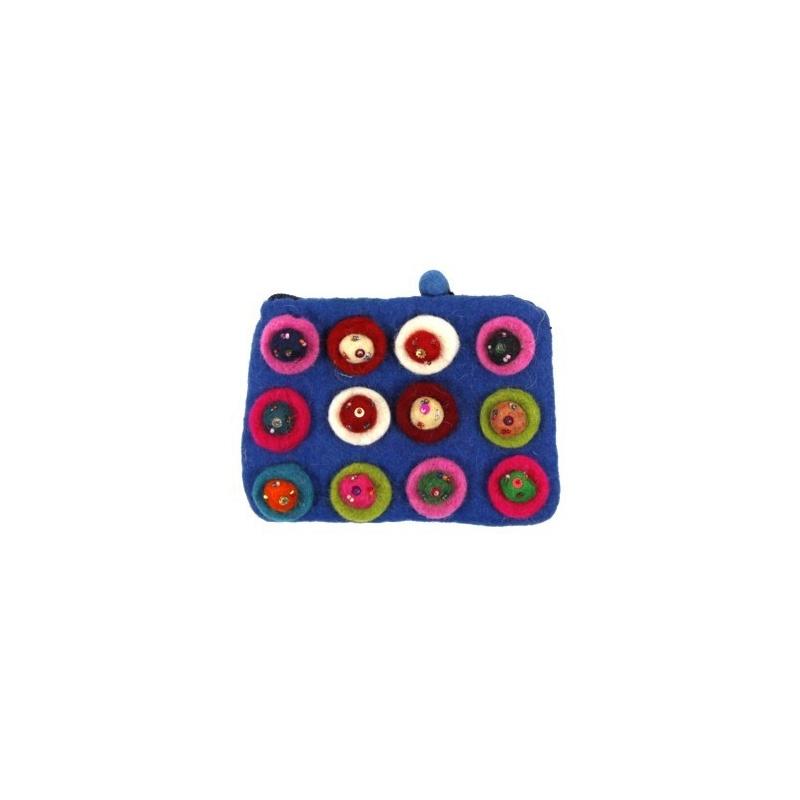 Pochette Porte-monnaie bleu en laine