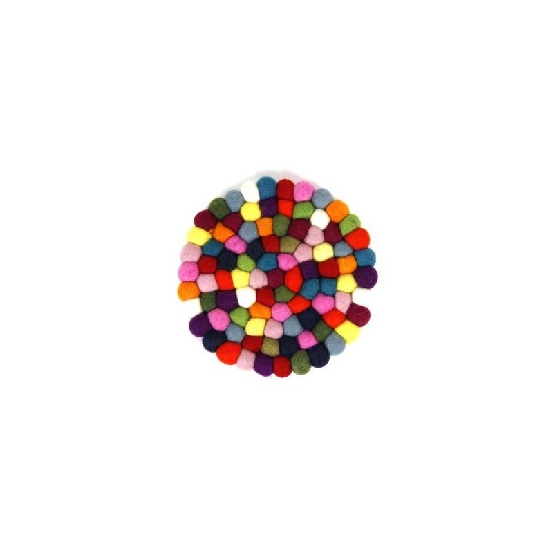 Dessous de plat en laine feutrée multicolore