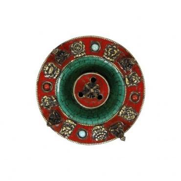 Porte encens rond Bouddha et mosaïque