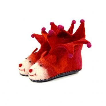 961ecb0afb82b Chausson-Pantoufle enfants en laine feutrée animaux rigolote rouge ...