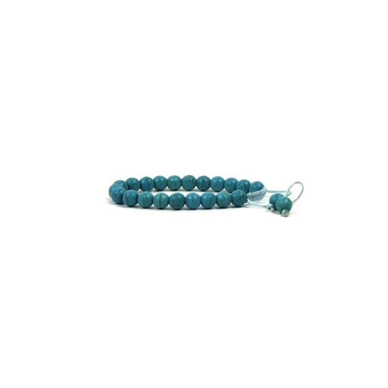 Bracelet mala bleu turquoise 21 perles