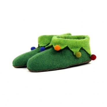 Pantoufles verte en laine bouillie 31 à 35