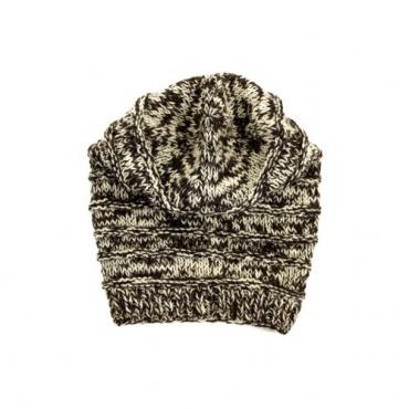 Bonnet  marron chiné en tricot mode