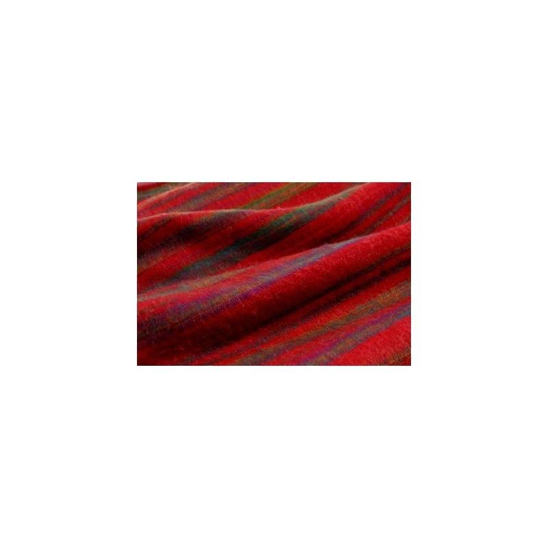 Couverture rouge lignée violet et vert