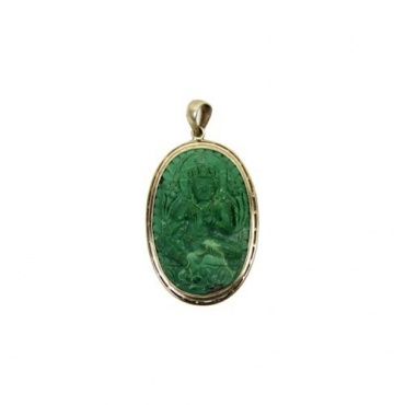 Médaillon Pendentif de Tara Verte en Turquoise