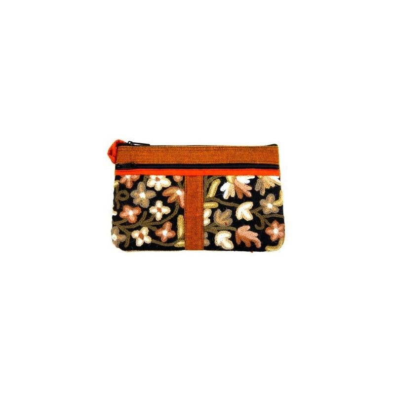 Pochette sac brodé orange et noir