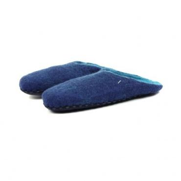 Chausson en laine bouillie bleu 38 à 39