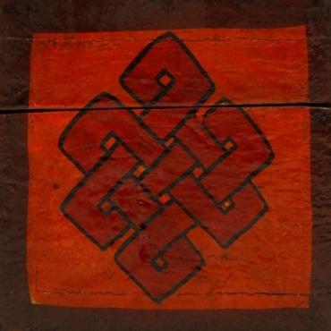 Boîte à bijoux tibétaine en bois - lotus