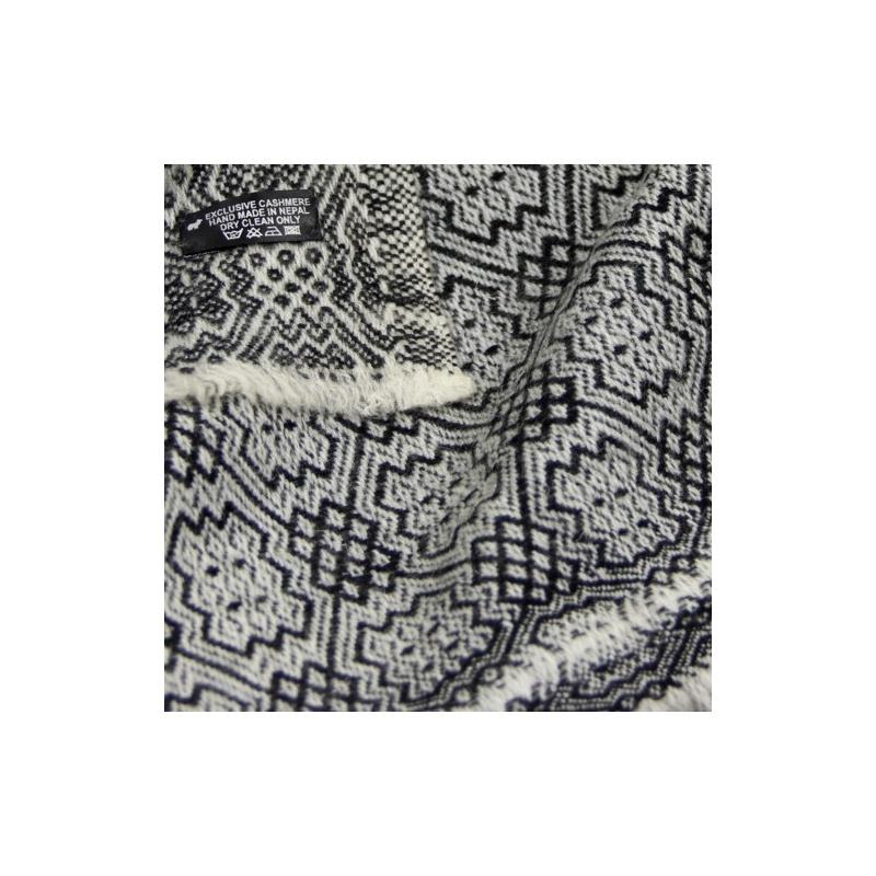 Couverture châle Cashmere véritable noir et blanc
