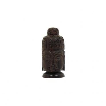 Petite boîte tête de bouddha en bois pillulier original