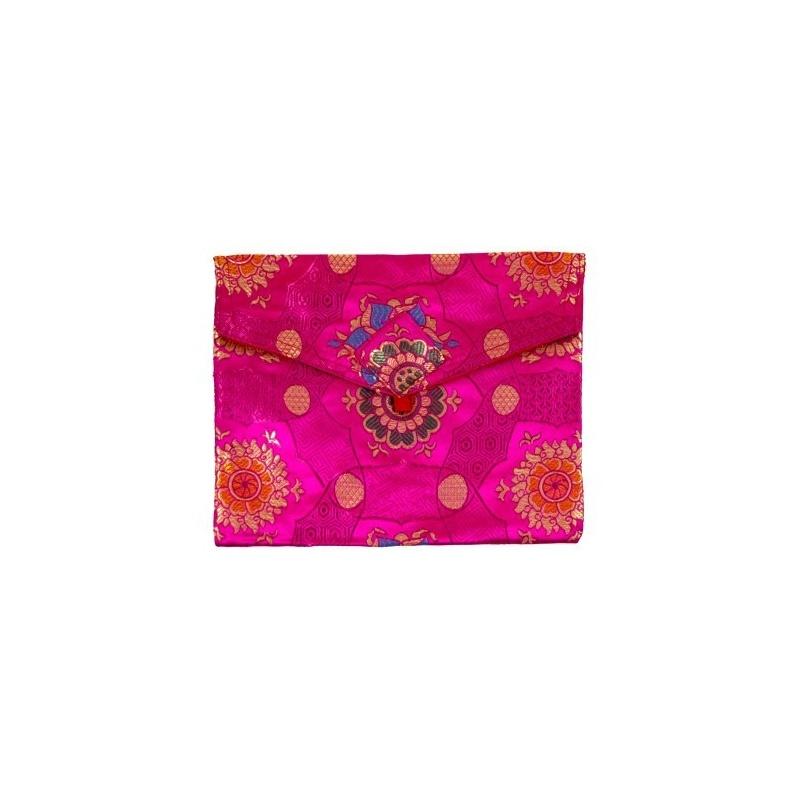 Pochette en Soie Tibétaine rose S à A4 pour livres et documents