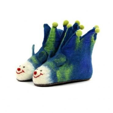 Pantoufles animaux rigolos pour enfants bleu 19 au 35