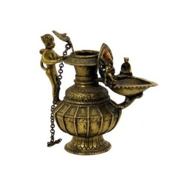 Ancienne lampe à Huile - Sukunda - Népal Ganesh et Hanuman