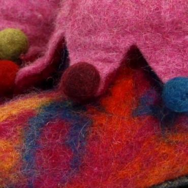 Pantoufles picasso rose en laine bouillie 28 à 37