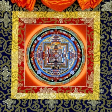 Tangka Kalachakra peinture Mandala Tibétain avec de l'or