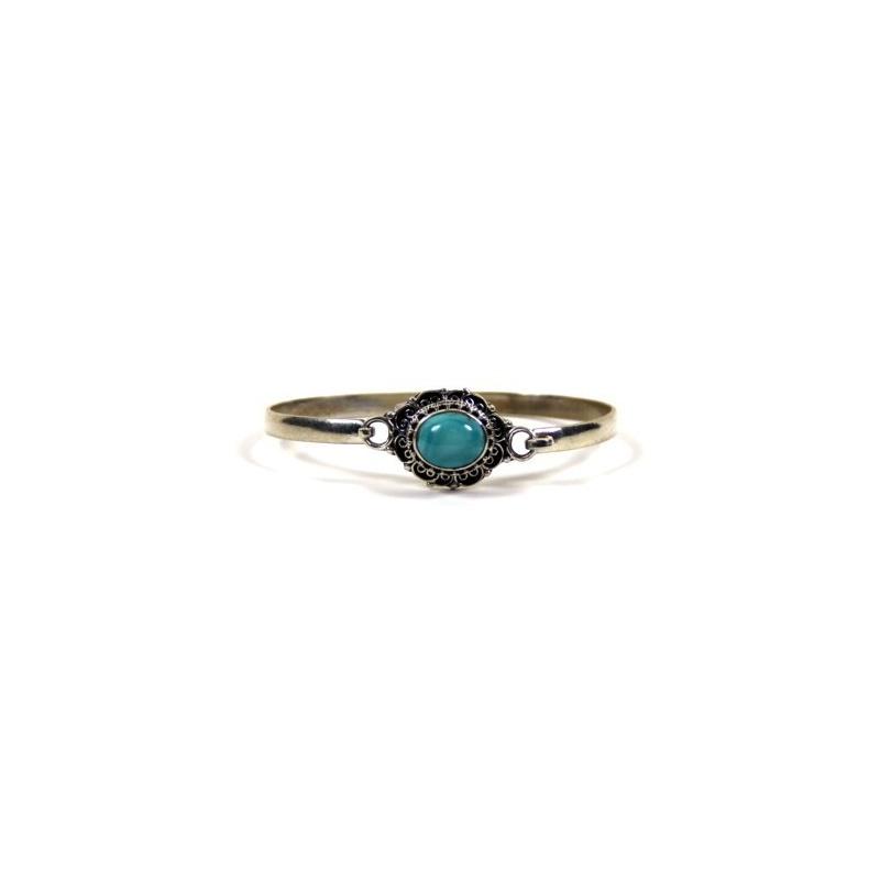 Bracelet Tibétain en argent et pierre turquoise